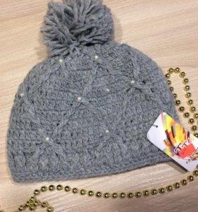 🍁Стильная теплая вязанная шапочка с помпоном
