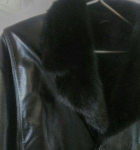 Новая куртка зимняя.кожа,на овчине,мех норка.новая