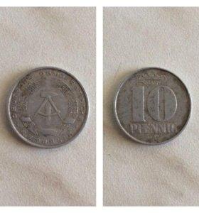 Монета 10 пфеннигов 1968 года