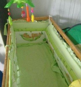 Комплект бортики с балдахином и матрас.