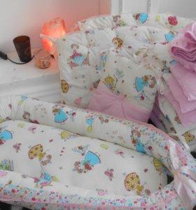 Бортики, простынь, гнездышко-кокон в кроватку