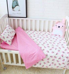 Постельное белье, комплект в кроватку
