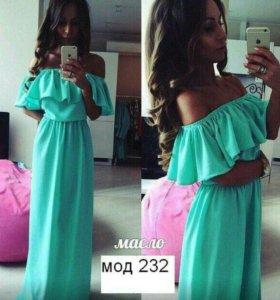 Платье мятного цвета 50-54