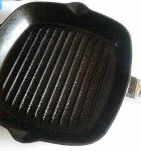 Сковорода гриль чугунная 26х26см со съемной ручкой