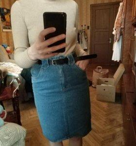 Джинсовая винтажная юбка