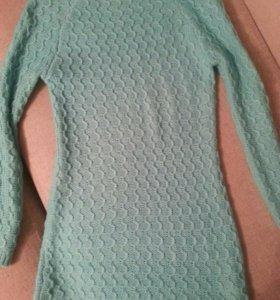 Вязоное теплое платье