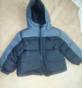 Куртка серо-черная на 1,5-2 года