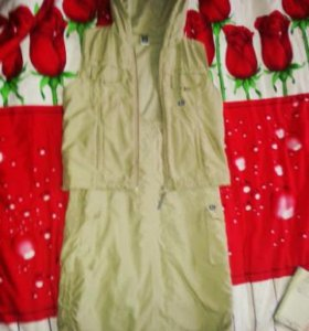 Костюм жилетка с капюшоном + юбка