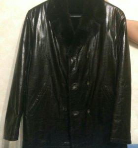 Кожаная мужская куртка (зима),темно-коричневая