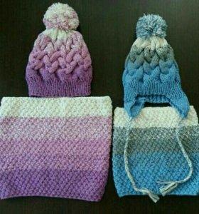 Новые комплекты комплекты фемили лук шапка+снуд