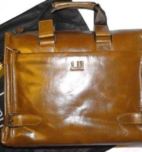 Мужская кожаная деловая сумка dunhill brown А4 new