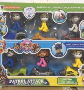 Щенячий патруль. Набор 6 героев с машинками.