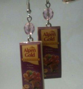 Серьги ручной работы «Шоколадки Alpen Gold»
