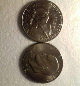 Продам две монеты по одному доллару