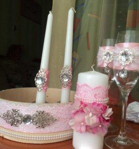Оформление бокалов/сито/свечи на свадьбу