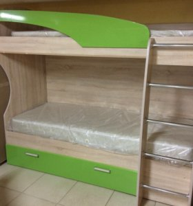 Кровать двухъярусная 0,8 МДФ с матрасами