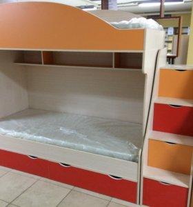 Кровать двухъярусная Бемби-7 с матрасами
