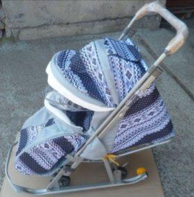 Новые санки коляски цвет серый