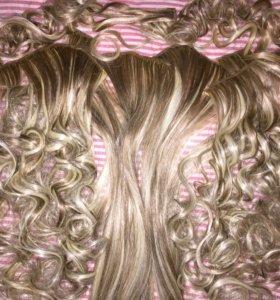 Волос для наращивания на внутренних заколках термо