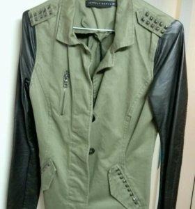 Куртка жакет с кожаными рукавами