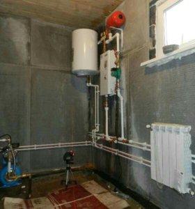 Установка котлов отопления, труб канализации....