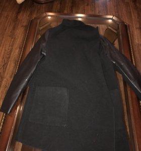 Пальто рукава кожа