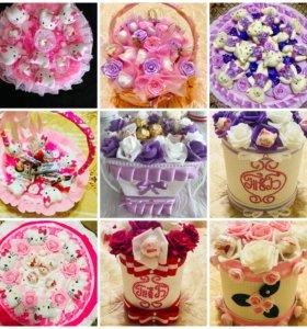 Оригинальные подарки,букеты из конфет и игрушек
