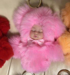 Спящие меховые куклы брелок👍Новинка сезона.