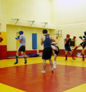 Борцовский ковер жёлто-красный четвёрка