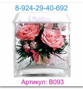 Ярко-розовые и светло-розовые розы в малой кубичес