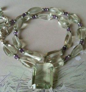 Колье из аметиста (празиолит) серебро