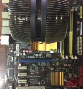 Материнская плата LGA775 с процессором и кулером