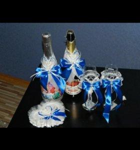 Комплект аксессуаров на бокалы и шампанское