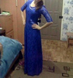 Платье в пол синее  вечернее