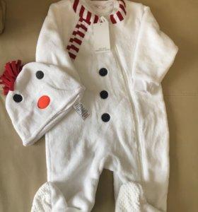 """Детский костюм боди """"снеговик"""""""