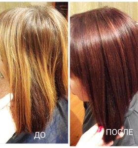 Окрашивание волос в тон