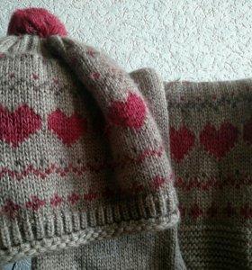 Женский теплый комплект шапка и шарф