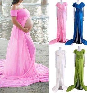 Платье для беременной фотосессии. Синее.