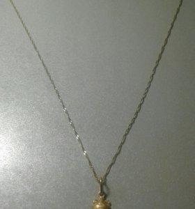 Цепочка желтое золото 585пр с кулоном
