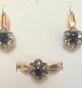 Комплект серьги и кольцо с сапфирами и бриллианами