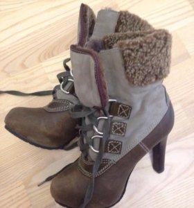 Ботиночки сапоги ботильоны натуральный мех и замша