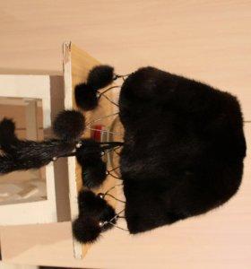 Норковая шапка-косынка