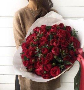 101, 51 роза, цветы с доставкой, розы оптом
