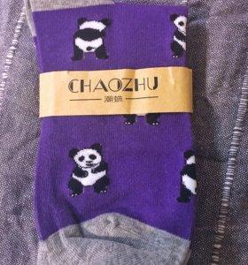 Новые носки фиолетовые с пандой