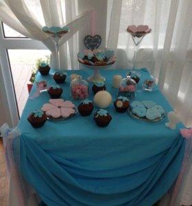 Сладкий стол, торт, капкейк, кенди-бар