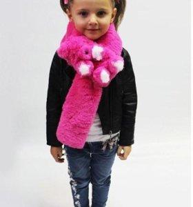 Новый шарф мех кролика детский Мишка игрушка