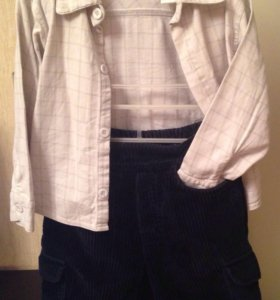 Костюм: вельветовые брючки и хлопковая рубашка