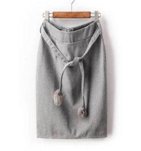 Теплая юбка с высокой талией