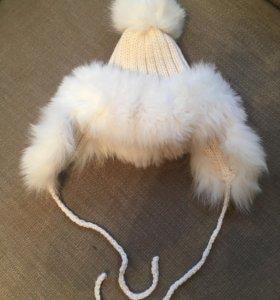 Шапка зимняя с помпонами шерсть меринос