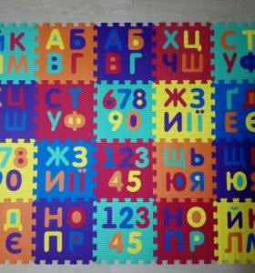 Коврик-пазл Алфавит, цифры